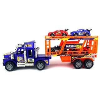 Velocity Toys Super Truck Trailer Children's Ready To Run Friction Toy Truck With 4 Toy Cars (Colors May Vary)