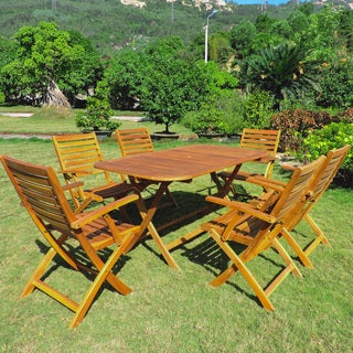 International Caravan Isernia Acacia Hardwood Outdoor Folding Dining Set (Set of 7)