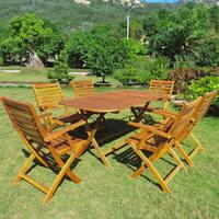 International Caravan Isernia Acacia Hardwood Outdoor Folding Dining Set (Set of 7)