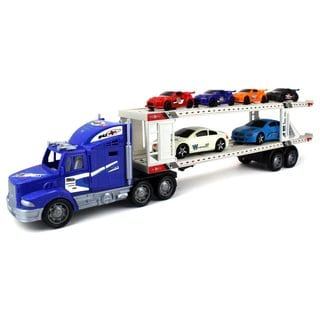 Velocity Toys Power Express Trailer Children's Friction Toy Truck with 6 Toy Cars (Colors May Vary)