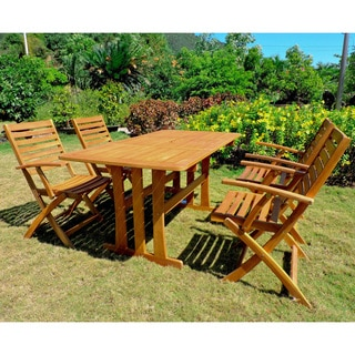International Caravan Ispica Acacia Hardwood Outdoor Dining Set (Set of 5)