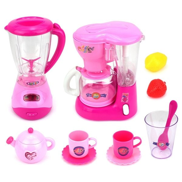 Velocity Toys Mini Dream Kitchen Pink Play Toy Kitchen Appliances Playset