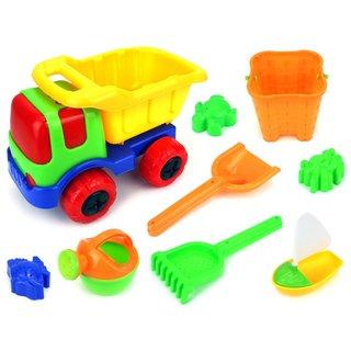 Velocity Toys Sunny Dump Truck Kid's Plastic Toy Beach Sandbox Truck Playset