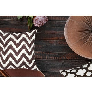 White and Brown Chevron 100-percent Polyester Geometric Throw Pillows (Set of 2)