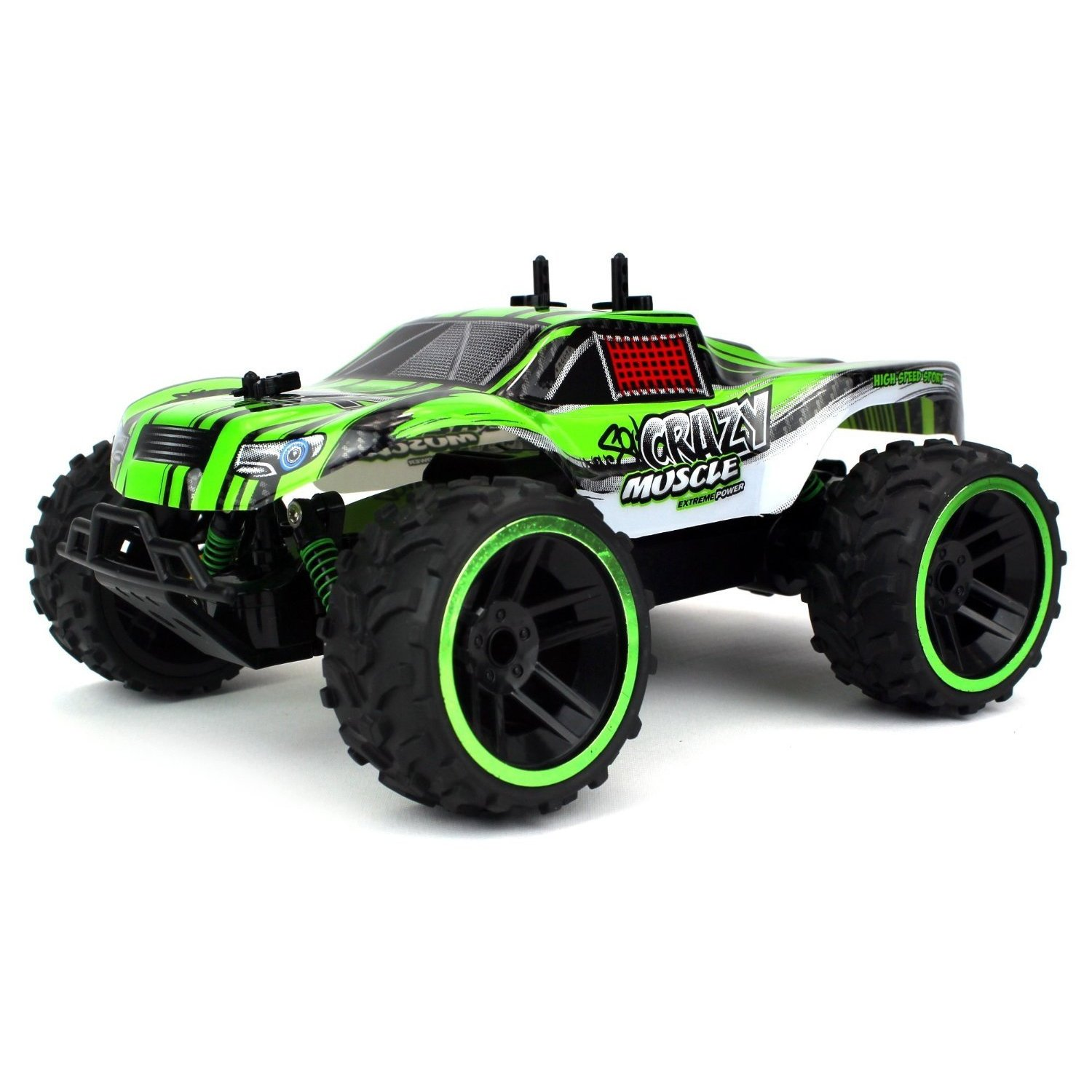 Velocity Toys Buggy Crazy Muscle Remote Control RC Truck Truggy 2 4 GHz PRO  System 1:16 Scale Size (Colors May Vary)