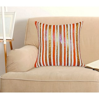 Orange Stripe Sequin 100-Percent Cotton, 18-inch x18-inch Decorative Throw Pillow (Set of 2)