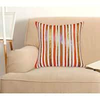 Orange Stripe Sequin 100-Percent Cotton, 18-inch x18-inch Decorative Throw Pillow (Set of 2)