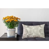 100-percent Cotton 14-inch x 20-inch Beaded Geomentric Decorative Throw Pillow