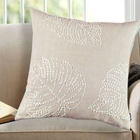 Off-white Cotton 18-inch x 18-inch Leaf Sequin Decorative Throw Pillow (Set of 2)