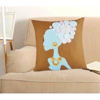 Mona Lisa Multicolored Cotton 18-inch x 18-inch Decorative Throw Pillow