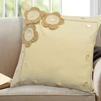 Applique Floral 100-percent Cotton, 18-inch x 18-inch Decorative Throw Pillows (Set Of 2)