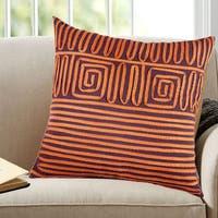 Orange 100-percent Cotton 18-inch x 18-inch Geometric Twirled Lace Decorative Throw Pillow (Set of 2)