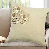 100-percent Woolen Felt 18-inch Square Floral Decorative Throw Pillows (Set of 2)