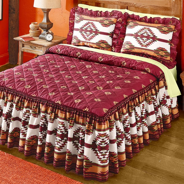 Taos Southwestern Style Red and Yellow Quilted Top Bedspread