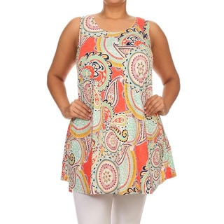 Womens' Multicolored Polyester/Spandex Plus-size Sleeveless Short Dress