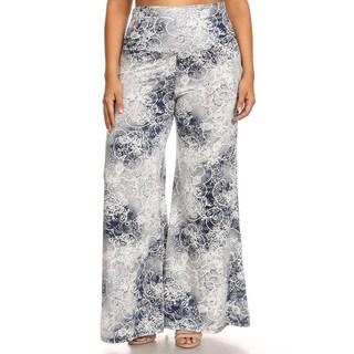 Plus-size Women's Rayon/Spandex Floral Pants