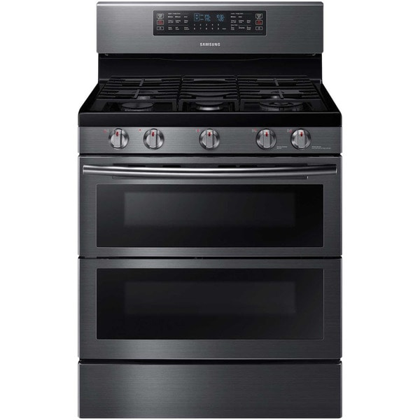 samsung black 30 inch slide in gas range with divisible oven free shipping today overstock. Black Bedroom Furniture Sets. Home Design Ideas