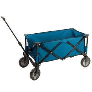 TimberRidge Portal Blue Collapsible Folding Utility Wagon Cart With Cooler Bag