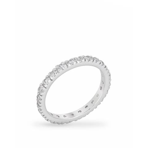 Kate Bissett Clear Cubic Zirconia Brass Eternity Ring - White