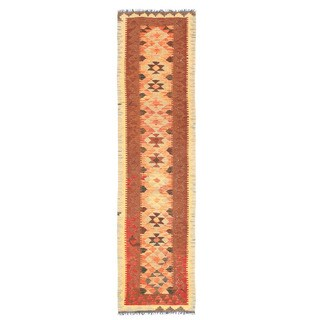 Herat Oriental Afghan Hand-woven Wool & Jute Kilim (2'6 x 9'9)