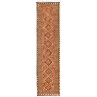 Herat Oriental Afghan Hand-woven Wool & Jute Kilim (2'6 x 9'8)
