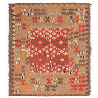 Herat Oriental Afghan Hand-woven Wool & Jute Kilim (3'2 x 3'6)