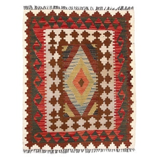 Herat Oriental Afghan Hand-woven Wool & Jute Kilim (2'9 x 3'4)
