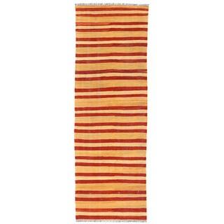 Herat Oriental Afghan Hand-woven Wool & Jute Kilim (2' x 6'2)