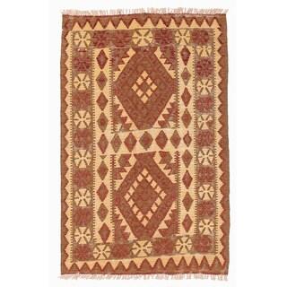 Handmade Herat Oriental Afghan Mimana Wool Kilim (Afghanistan) - 2'9 x 4'2