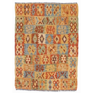 Herat Oriental Afghan Hand-woven Wool & Jute Kilim (2'7 x 3'6)