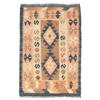 Herat Oriental Afghan Hand-woven Wool & Jute Kilim (2' x 2'11)