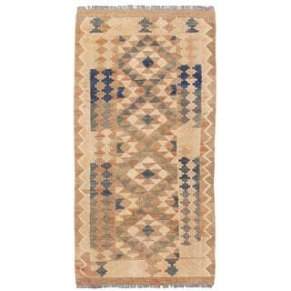 Herat Oriental Afghan Hand-woven Wool & Jute Kilim (1'9 x 3'3)