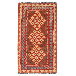 Herat Oriental Afghan Hand-woven Wool & Jute Kilim (1'10 x 3'3)