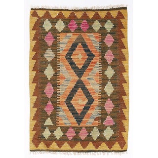 Herat Oriental Afghan Hand-woven Wool & Jute Kilim (1'10 x 2'9)