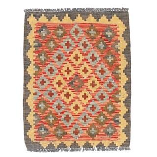Herat Oriental Afghan Hand-woven Wool & Jute Kilim (1'9 x 2'2)