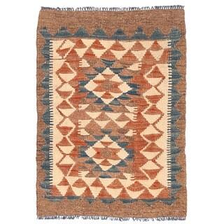 Handmade Herat Oriental Afghan Mimana Wool Kilim - 1'11 x 2'8 (Afghanistan)