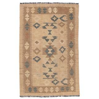 Herat Oriental Afghan Hand-woven Wool & Jute Kilim (2'2 x 3'4)
