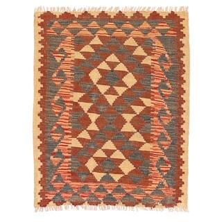 Herat Oriental Afghan Hand-woven Wool & Jute Kilim (2'1 x 2'7)