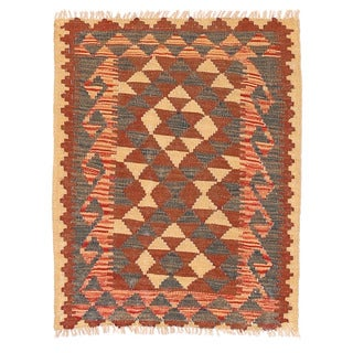 Handmade Herat Oriental Afghan Mimana Wool Kilim - 2'1 x 2'7 (Afghanistan)