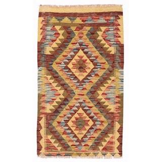 Herat Oriental Afghan Hand-woven Wool & Jute Kilim (1'10 x 3'2)