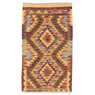 Handmade Herat Oriental Afghan Mimana Wool Kilim - 1'10 x 3'2 (Afghanistan)