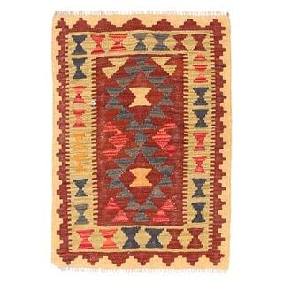 Herat Oriental Afghan Hand-woven Wool & Jute Kilim (1'10 x 2'8)