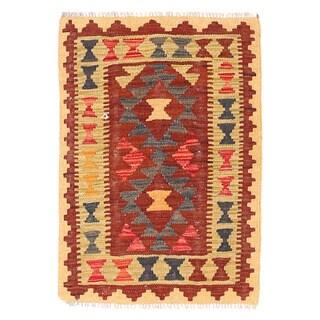 Handmade Herat Oriental Afghan Mimana Wool Kilim - 1'10 x 2'8 (Afghanistan)