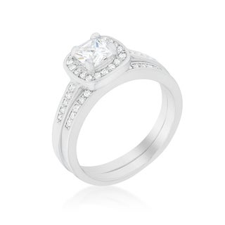 Kate Bissett Pave Cushion Cubic Zirconia Wedding Ring Set