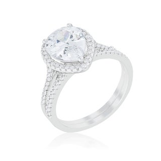 Kate Bissett Halo Solitaire Pear Engagement Ring - Blue
