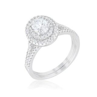 Kate Bissett Rhodium-plated Cubic Zirconia Oval Wedding Ring Set - White