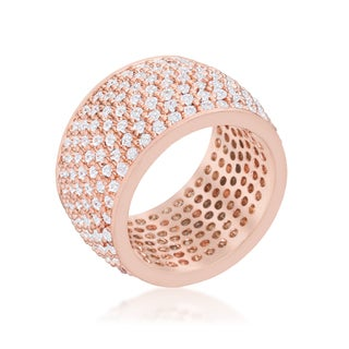 Kate Bissett Wide Pave Cubic Zirconia Rose Gold Band Ring