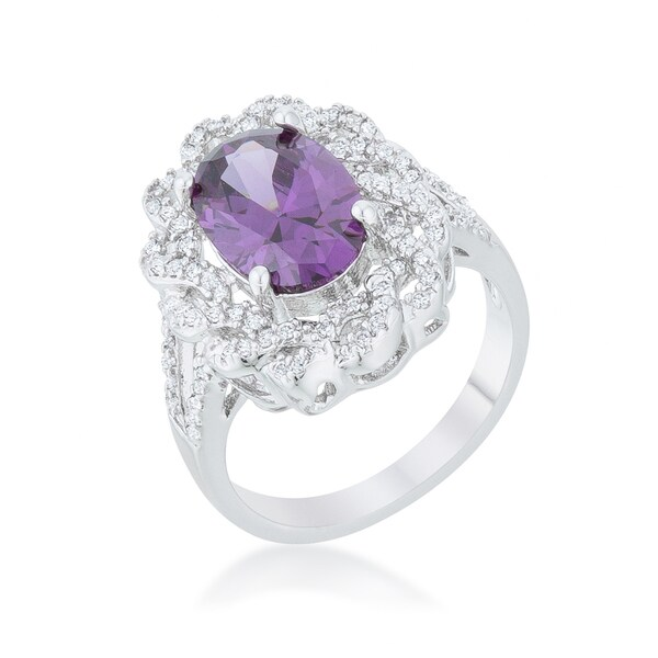 Kate Bissett Purple Amethyst Oval Classic Ring - Red