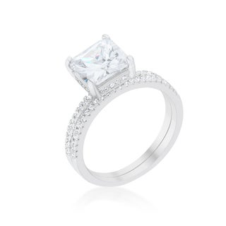 Kate Bissett Princess Solitaire Wedding Set Ring - White