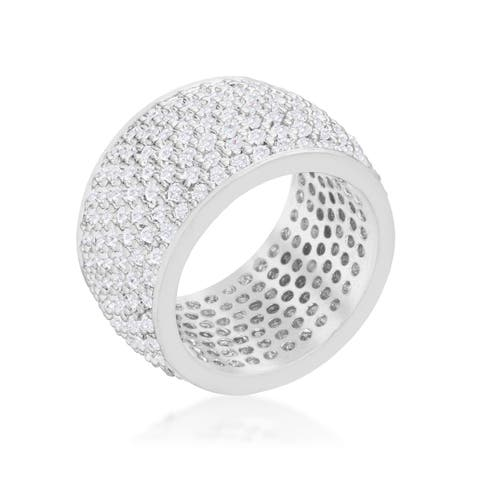 Kate Bissett Wide Pave Cubic Zirconia Silvertone Band Ring - White